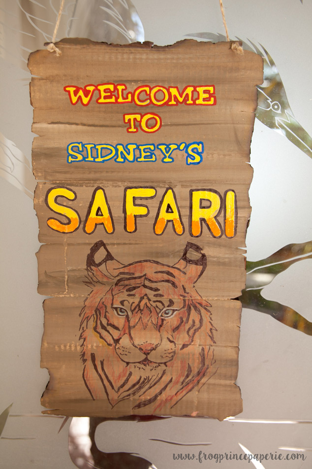 Entrance sign for a safari birthday party