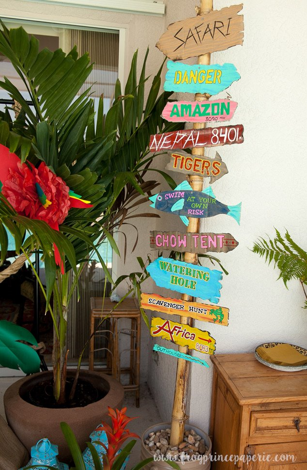 Hand painted signs with good directions a safari birthday party