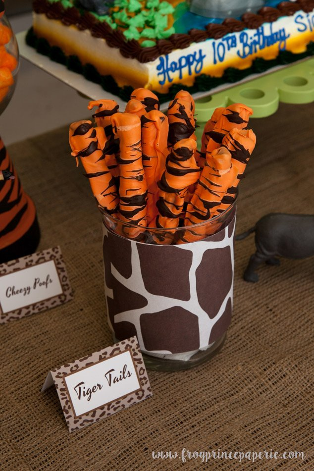Tiger tail snacks - a safari birthday party
