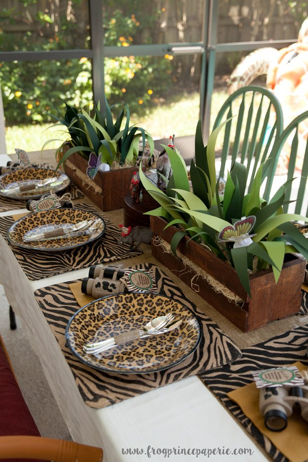 Handmade tablescape at a safari birthday party
