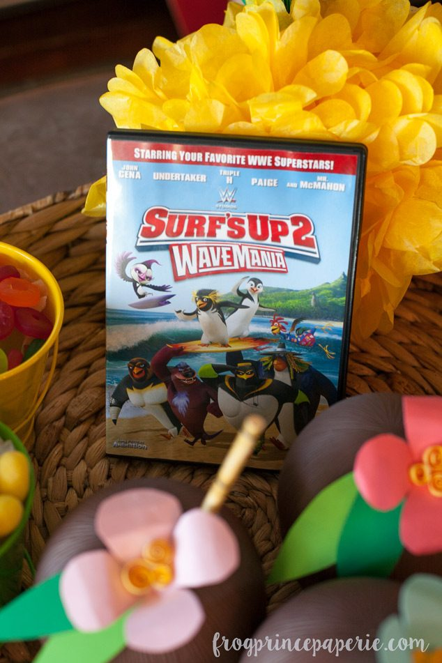 Luau party ideas to host a movie screening of Surf's Up 2!
