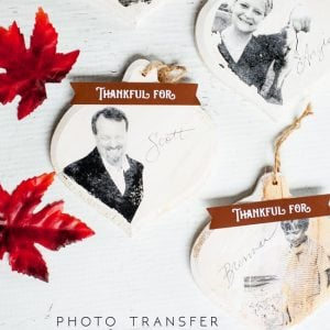 Set a special Thanksgiving table with personalized photo transfer ornaments. A place card and a keepsake all in one!