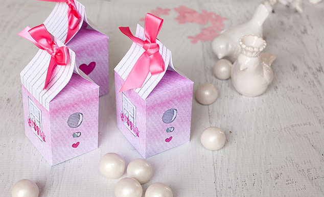 Pretty watercolor bird house boxes that are perfect as Valentine treat boxes