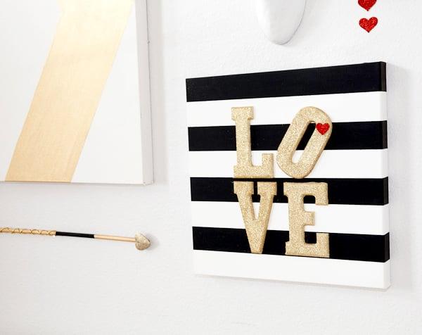 Valentines Glitter and Stripes Wall Art - TGIF - This Grandma is Fun