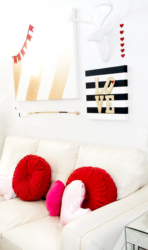 Valentines Glitter And Stripes Wall Art Tgif This