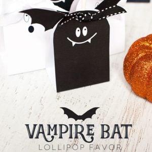 Vampire Bat Lollipop Favor Free Printable for Halloween