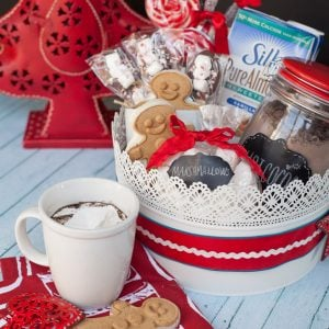 Create a handmade gift basket for Christmas with non dairy hot chocolate recipe! #christmas #handmade #DIYgifts