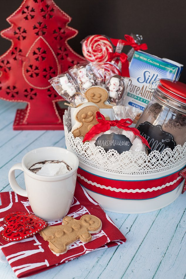create a handmade gift basket for christmas with silk milk and dairy free cocoa mix